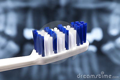 Normal blue-white toothbrush