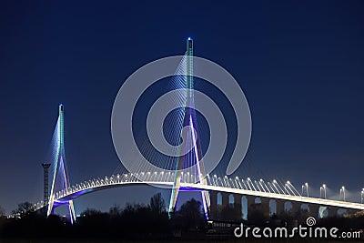 Normandy bridge at night