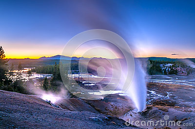 Norris Geyser Basin after Sunset