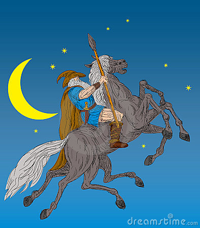 Free Norse God Odin Riding Horse Stock Image - 12500411