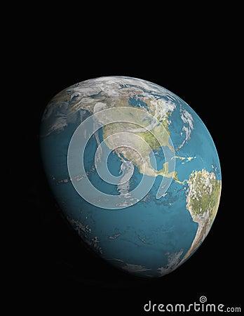 North America with 3/4 illuminated Earth