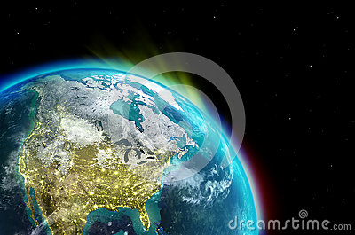 North america continent along with city lights from outer for Outer space design australia