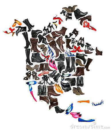 North America continent made of  shoes