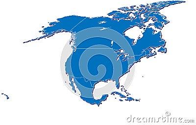 North America map in 3D