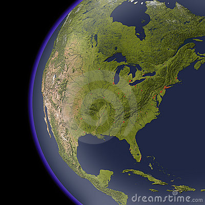 North America from space, shaded relief map.