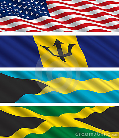 North American Flags in the Wind