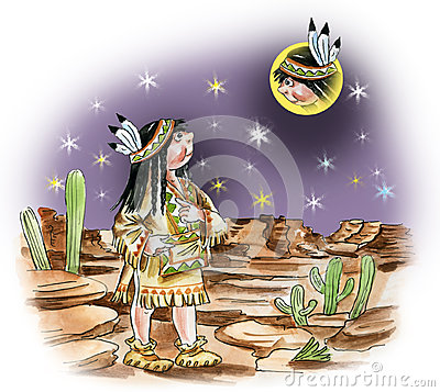 North american indian girl watching moon