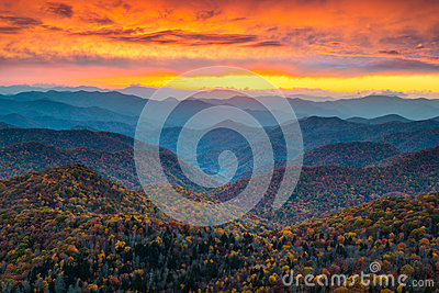 North Carolina Blue Ridge Parkway Mountains Sunset Scenic Landsc Stock Photo