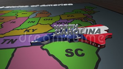 North Carolina pull out from USA states abbreviations map stock video