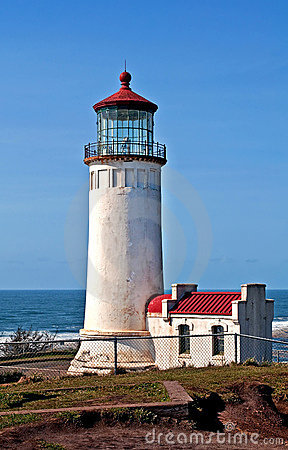 North Head Lighthouse Off Pacific Ocean Wash