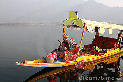 North Indian Couple riding Shikara Boat