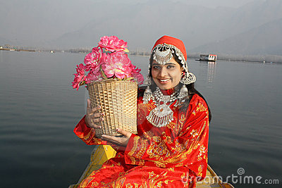 North Indian Girl Holding a Flower Basket