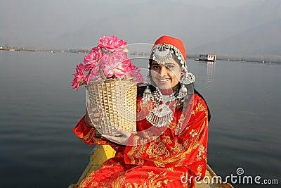 North Indian Girl Holding a Flower Basket