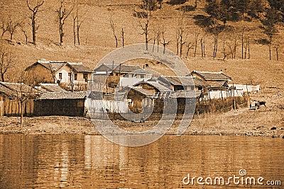 North Korean farmhouse Editorial Photo