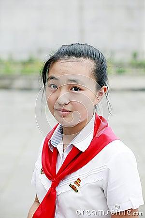 North Korean schoolgirl Editorial Image