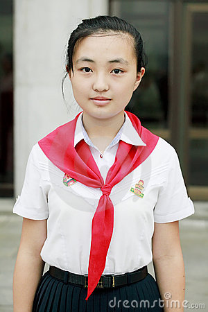 North Korean schoolgirl Editorial Stock Image