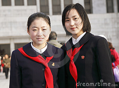 North Korean schoolgirls Editorial Image