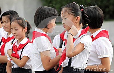North Korean schoolgirls 2013 Editorial Stock Image
