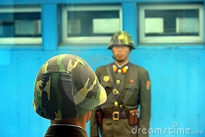 North Korean soldiers in the DMZ Editorial Photo