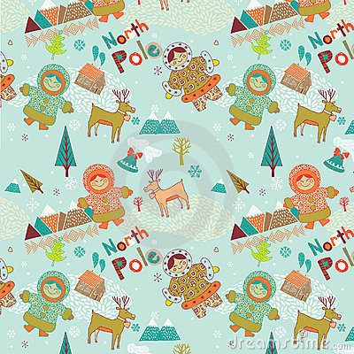 North Pole seamless pattern