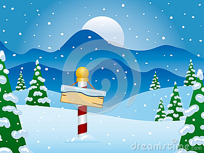 North Pole Winter Scene with Snow