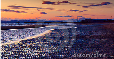 North sea beach of Ayr at sunset