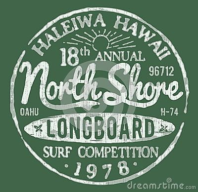 Free North Shore Surf Themed Vintage Design Stock Image - 33655791