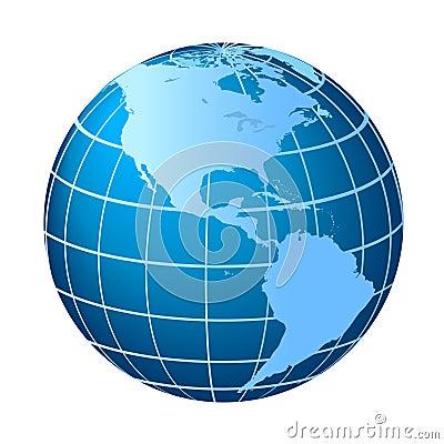 North and South America globe