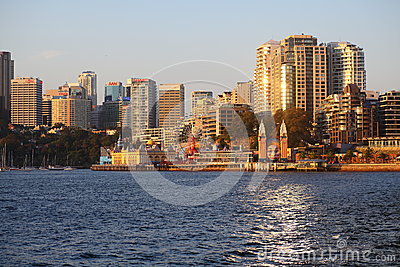 Sydney skyline with Luna Park at sunset Editorial Stock Photo