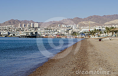 Northern beach of Red Sea, Eilat, Israel