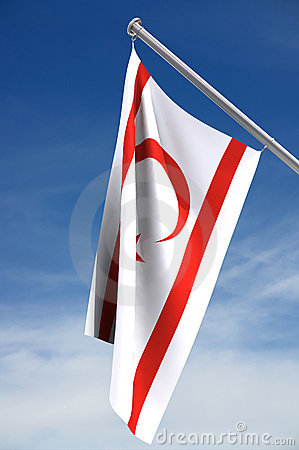 Northern Cyprus flag with sky