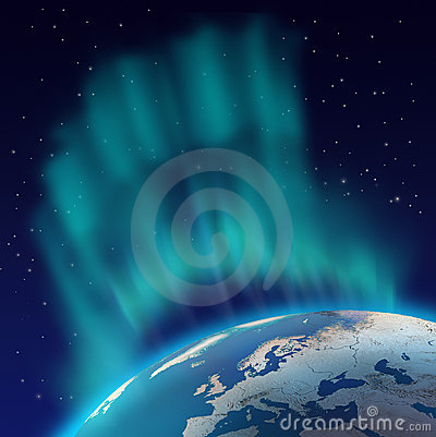 Northern lights aurora borealis over planet