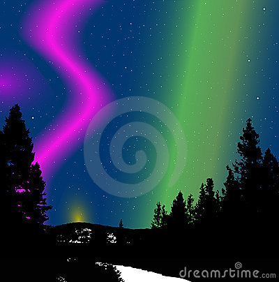Free Northern Lights Illustration Royalty Free Stock Image - 1257786