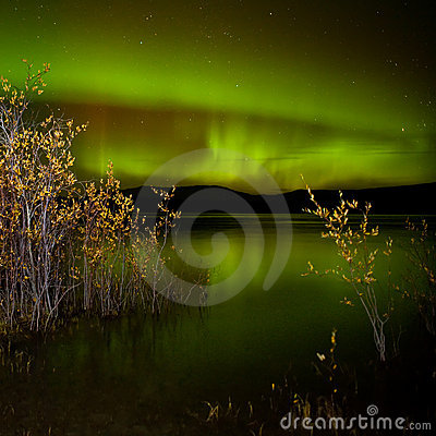 Free Northern Lights Mirrored On Lake Royalty Free Stock Image - 17149416