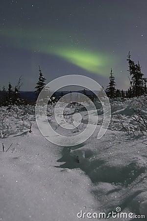 Northern lights over moonlight landscape