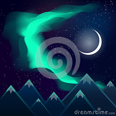 Free Northern Lights Over Mountains And The Moon Stock Photos - 49653313