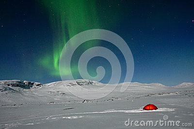Northern lights over a Tent