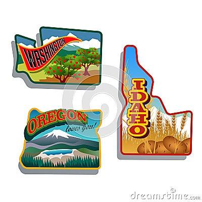 Free Northwest United States Idaho, Oregon, Washington Retro Sticker Patch Designs Stock Images - 32059994
