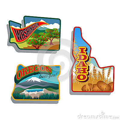 Northwest United States Idaho, Oregon, Washington retro sticker patch designs