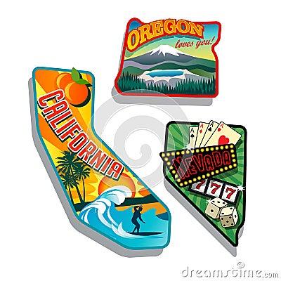 Northwest United states retro sticker illustrations