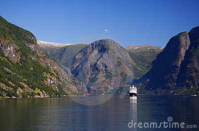 Norway fjord with cruise ship