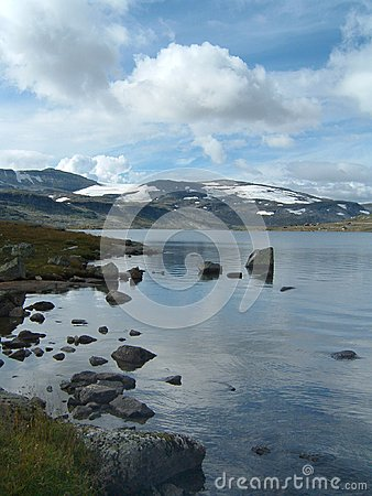 Norway mountain and lake in summer