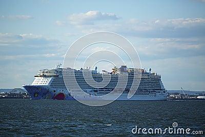 Norwegian Breakaway Cruise Ship leaving New York Editorial Photo