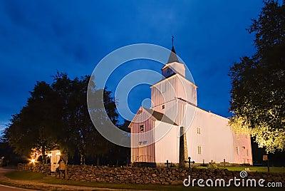Norwegian church at night