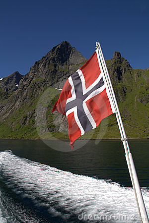 Norwegian flag on boat