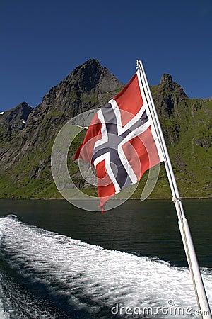 Norwegian flag on boat