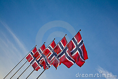 Norwegian flags during the summer