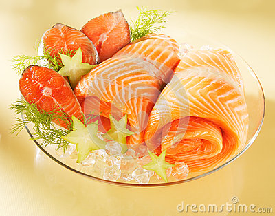 Norwegian salmon on a plate