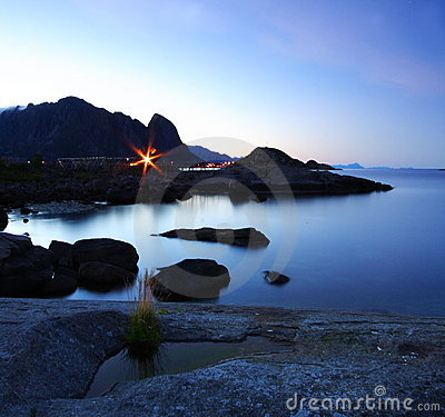Norwegian sea at night