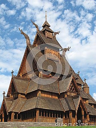 Norwegian stave church close-up